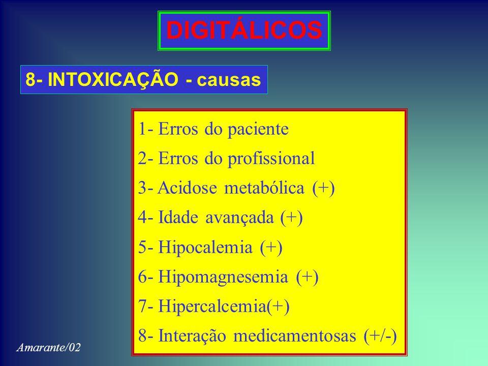 DIGITÁLICOS 8- INTOXICAÇÃO - causas 1- Erros do paciente