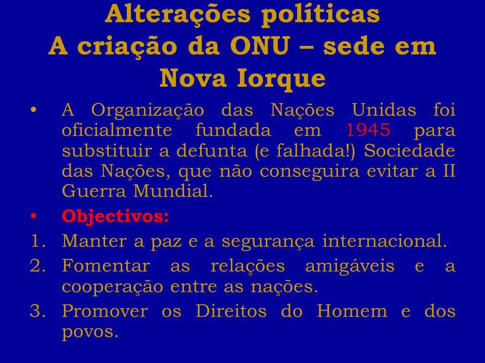 Alterações políticas A criação da ONU – sede em Nova Iorque