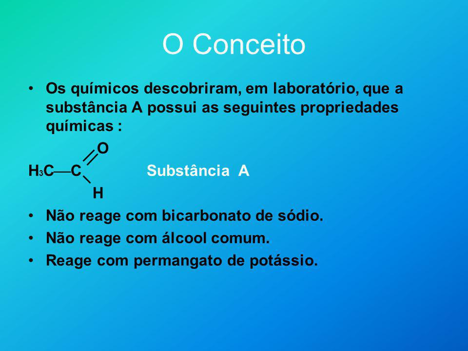 O Conceito Os químicos descobriram, em laboratório, que a substância A possui as seguintes propriedades químicas :