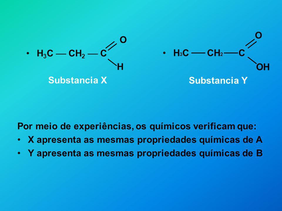 O H3C  CH2  C. OH. Substancia Y. O. H3C  CH2  C. H. Substancia X. Por meio de experiências, os químicos verificam que: