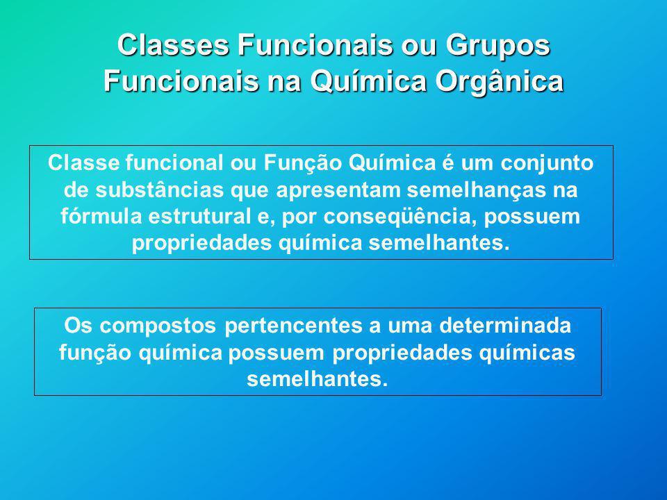 Classes Funcionais ou Grupos Funcionais na Química Orgânica