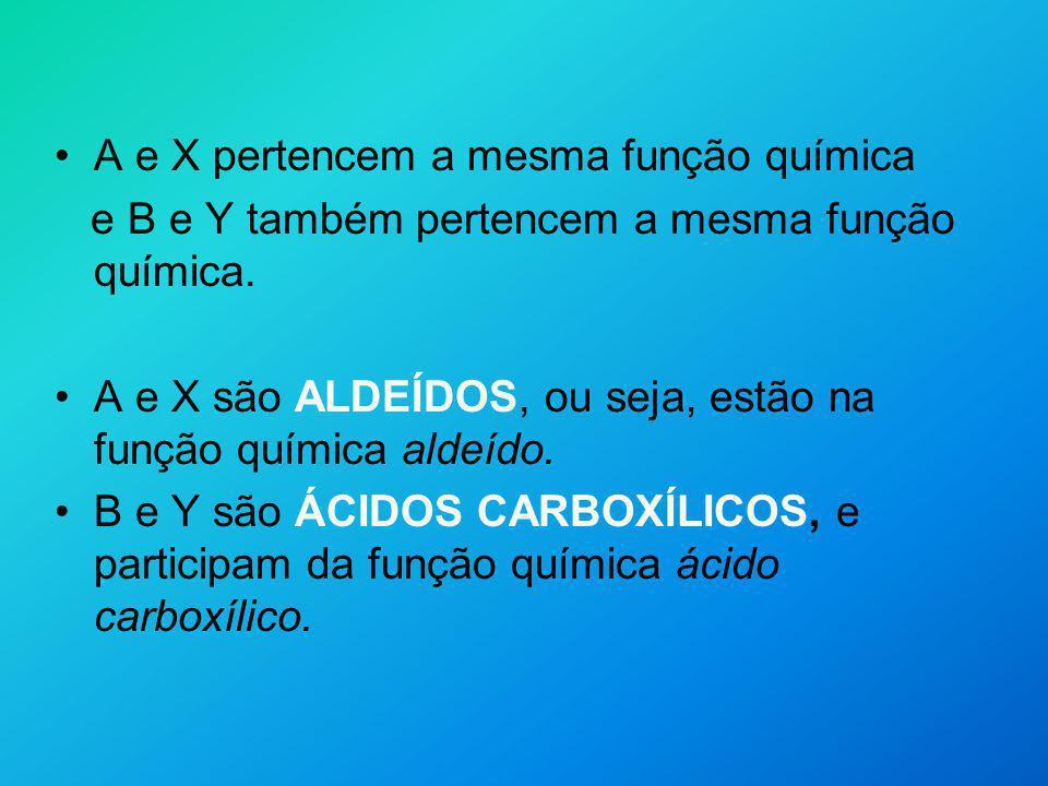 A e X pertencem a mesma função química