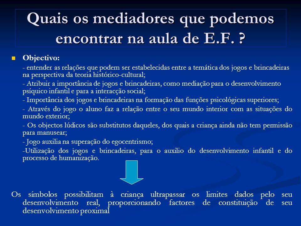 Quais os mediadores que podemos encontrar na aula de E.F.