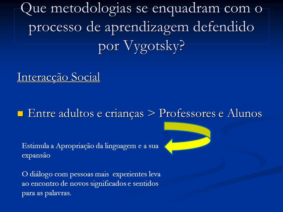 Que metodologias se enquadram com o processo de aprendizagem defendido por Vygotsky