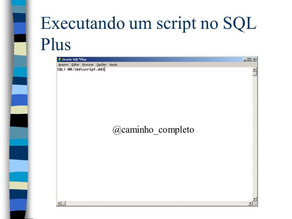 Executando um script no SQL Plus