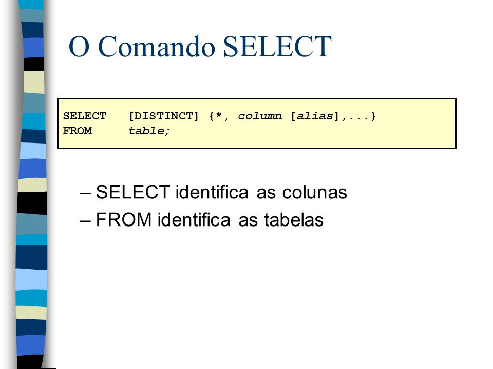 O Comando SELECT SELECT identifica as colunas