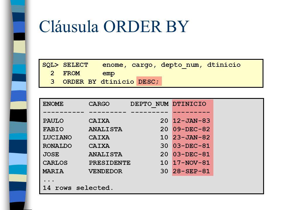Cláusula ORDER BY SQL> SELECT enome, cargo, depto_num, dtinicio