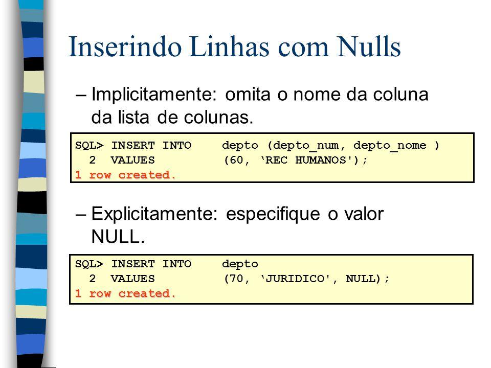 Inserindo Linhas com Nulls