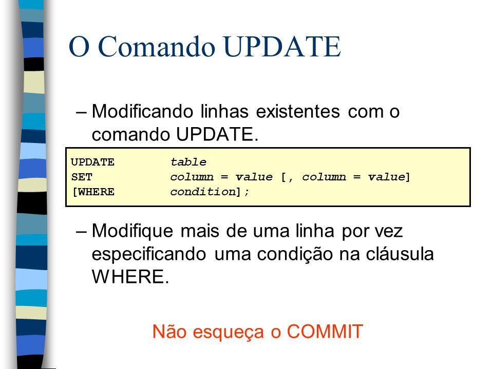 O Comando UPDATE Modificando linhas existentes com o comando UPDATE.