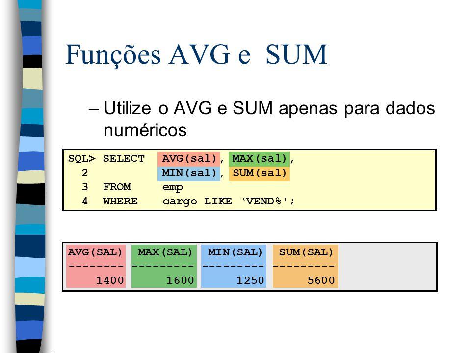 Funções AVG e SUM Utilize o AVG e SUM apenas para dados numéricos