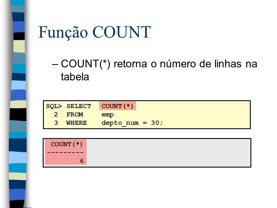 Função COUNT COUNT(*) retorna o número de linhas na tabela