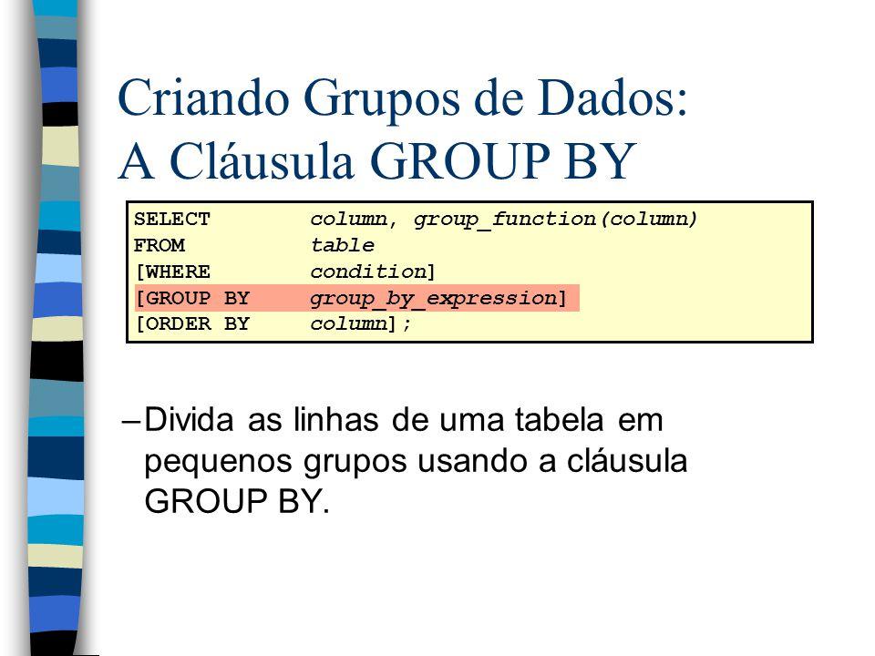 Criando Grupos de Dados: A Cláusula GROUP BY