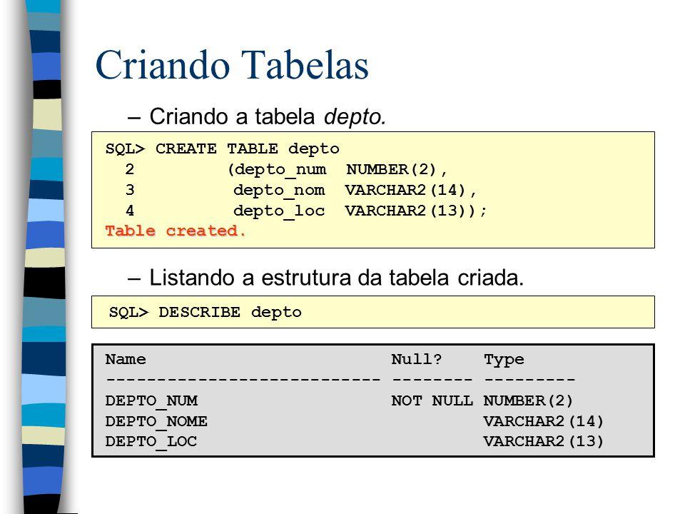 Criando Tabelas Criando a tabela depto.