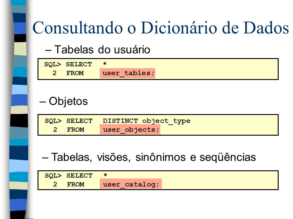 Consultando o Dicionário de Dados