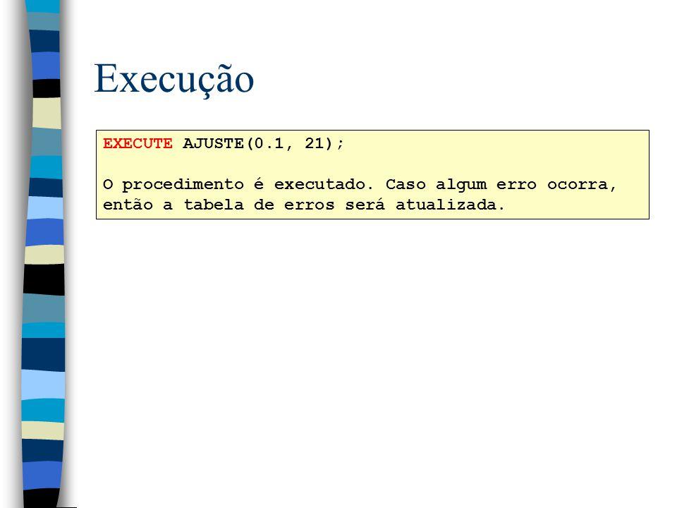 Execução EXECUTE AJUSTE(0.1, 21);