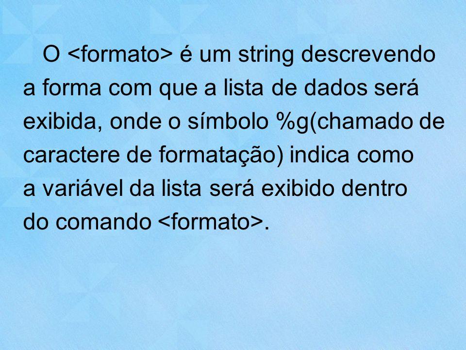 O <formato> é um string descrevendo a forma com que a lista de dados será exibida, onde o símbolo %g(chamado de caractere de formatação) indica como a variável da lista será exibido dentro do comando <formato>.