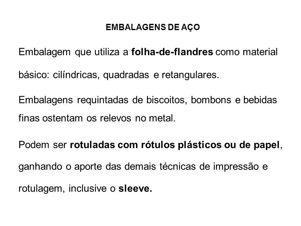 EMBALAGENS DE AÇO Embalagem que utiliza a folha-de-flandres como material básico: cilíndricas, quadradas e retangulares.