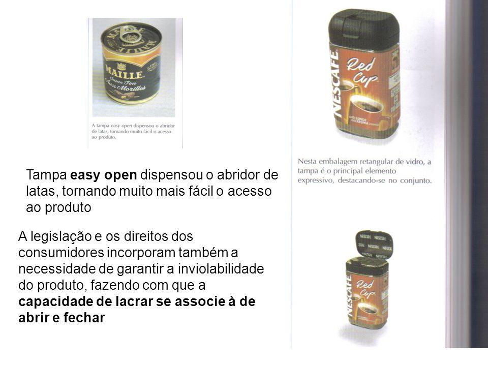 Tampa easy open dispensou o abridor de latas, tornando muito mais fácil o acesso ao produto