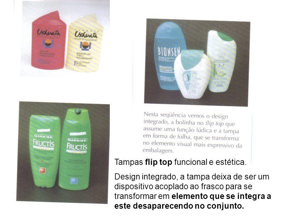 Tampas flip top funcional e estética.