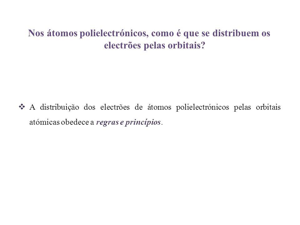 Nos átomos polielectrónicos, como é que se distribuem os electrões pelas orbitais