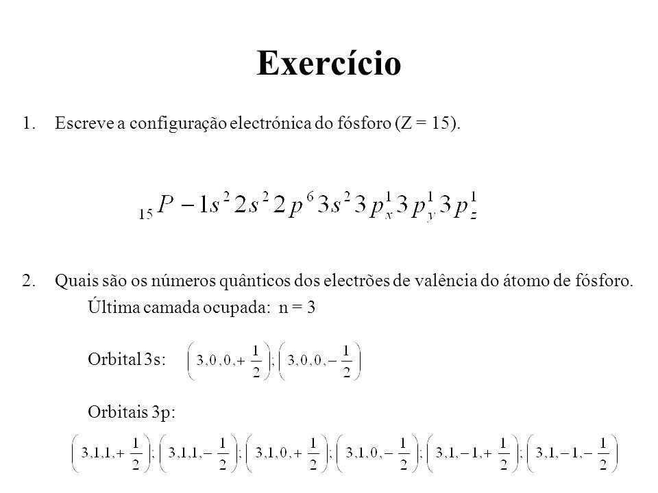 Exercício Escreve a configuração electrónica do fósforo (Z = 15).