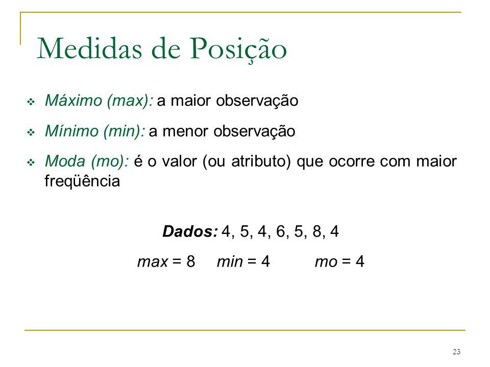 Medidas de Posição Máximo (max): a maior observação