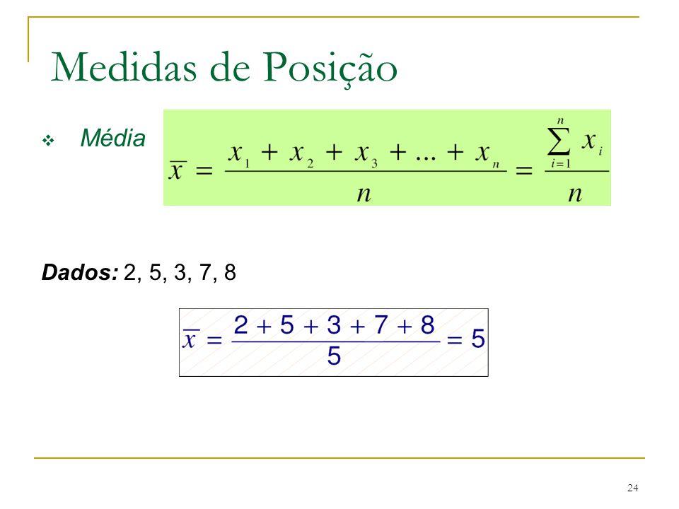 Medidas de Posição Média Dados: 2, 5, 3, 7, 8