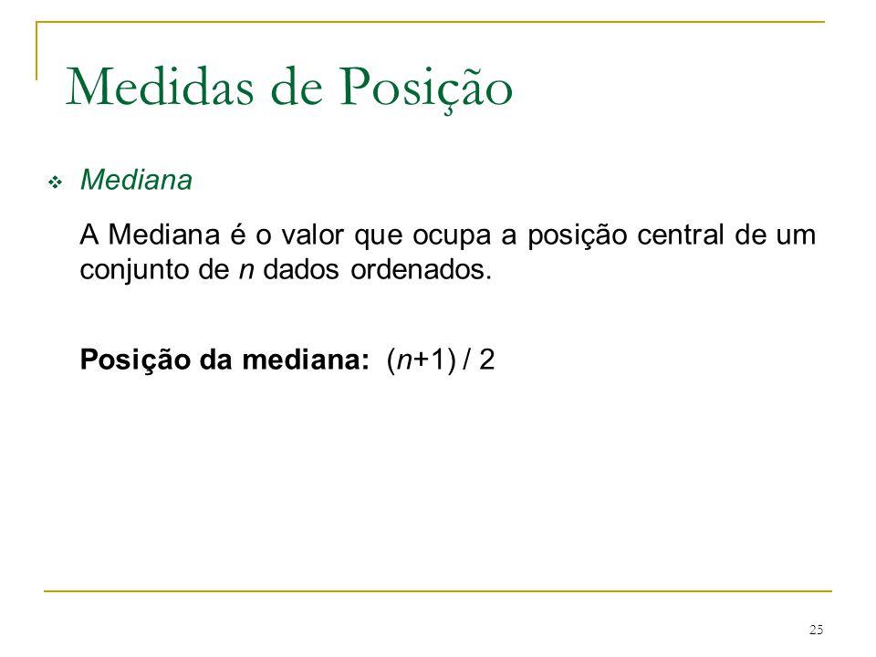 Medidas de Posição Mediana Posição da mediana: (n+1) / 2