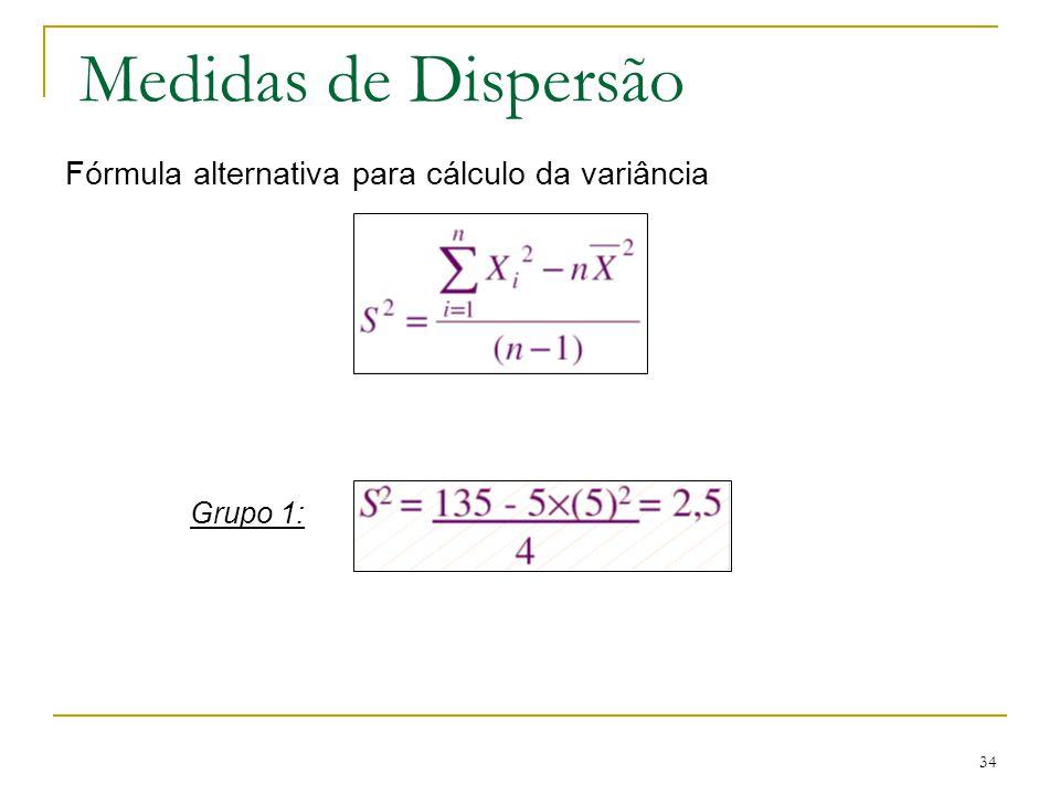 Medidas de Dispersão Fórmula alternativa para cálculo da variância