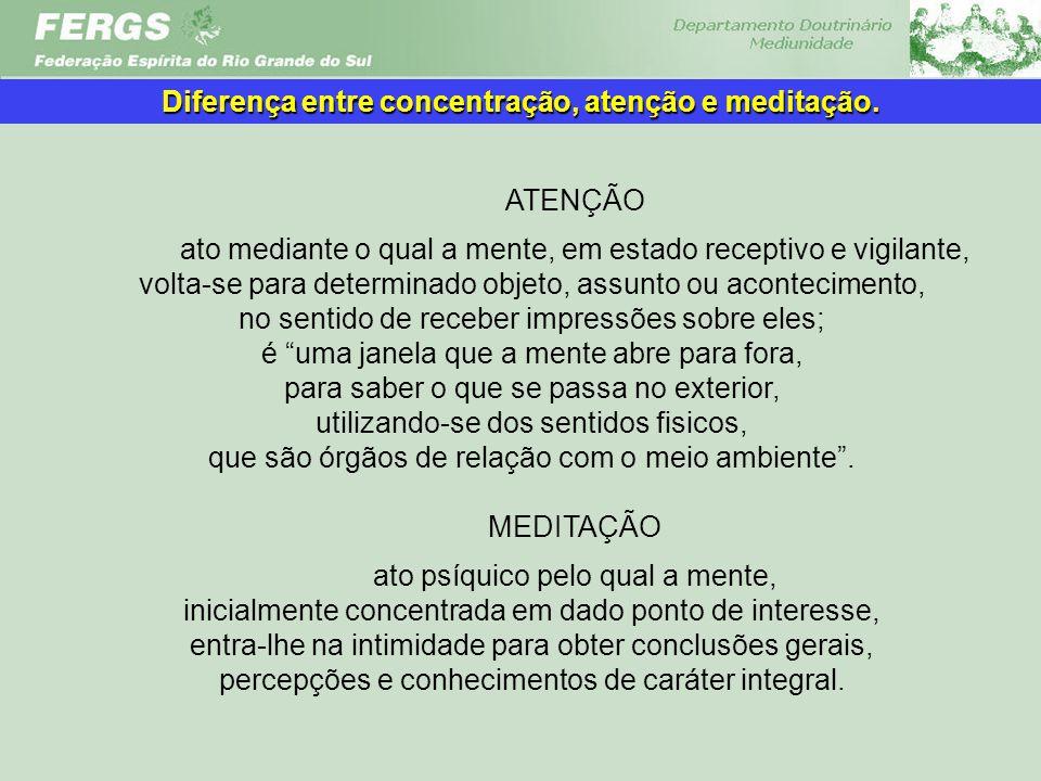 Diferença entre concentração, atenção e meditação.