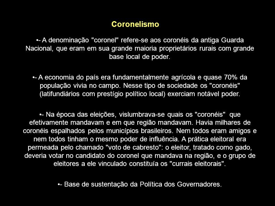 - Base de sustentação da Política dos Governadores.