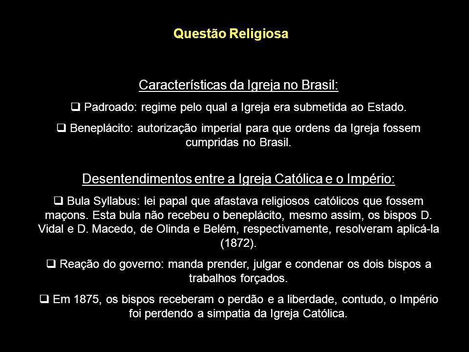 Características da Igreja no Brasil: