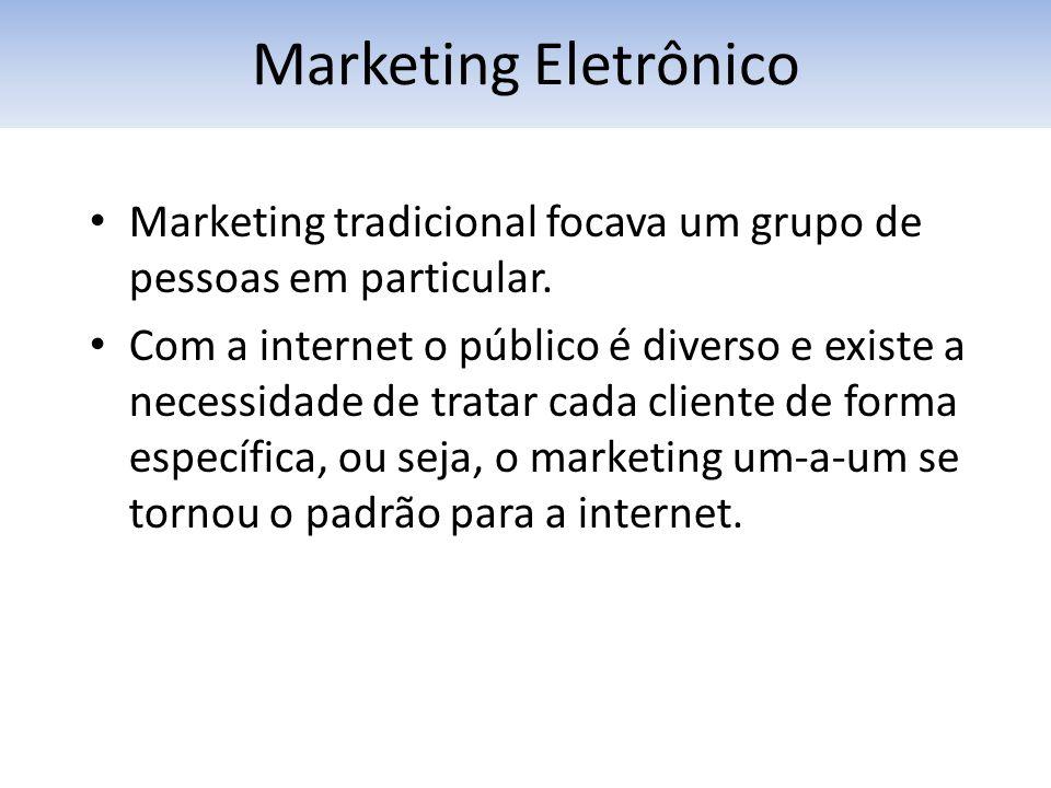 Marketing Eletrônico Marketing tradicional focava um grupo de pessoas em particular.