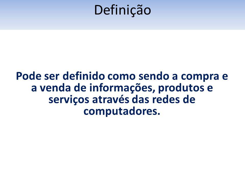 Definição Pode ser definido como sendo a compra e a venda de informações, produtos e serviços através das redes de computadores.
