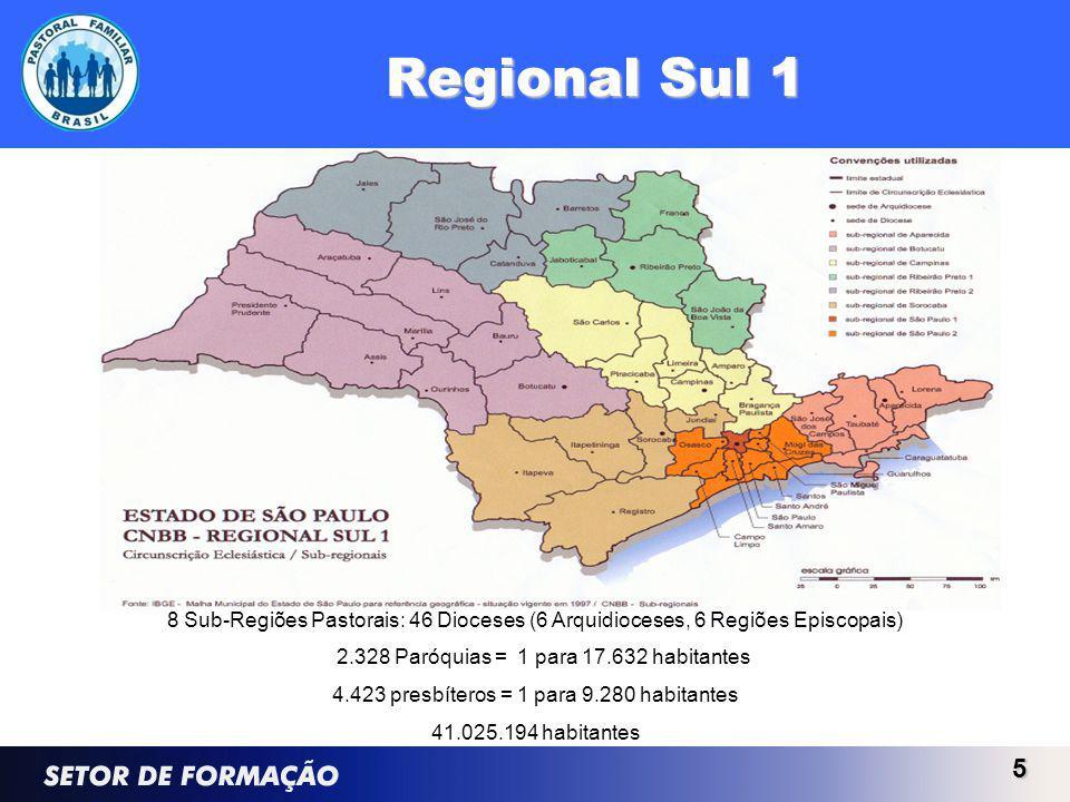 Regional Sul 1 8 Sub-Regiões Pastorais: 46 Dioceses (6 Arquidioceses, 6 Regiões Episcopais) 2.328 Paróquias = 1 para 17.632 habitantes.