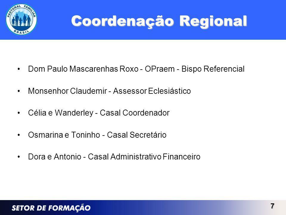 Coordenação Regional Dom Paulo Mascarenhas Roxo - OPraem - Bispo Referencial. Monsenhor Claudemir - Assessor Eclesiástico.