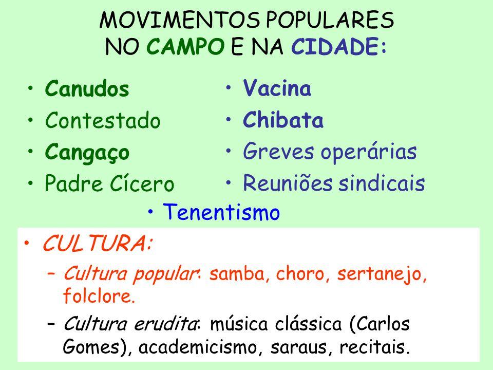 MOVIMENTOS POPULARES NO CAMPO E NA CIDADE:
