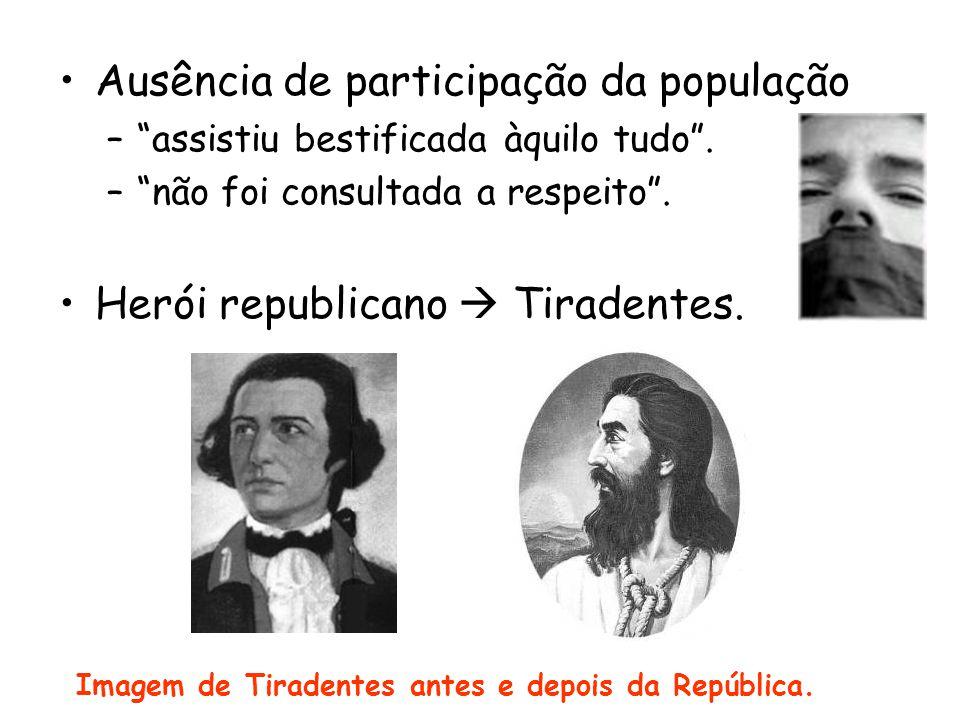 Imagem de Tiradentes antes e depois da República.