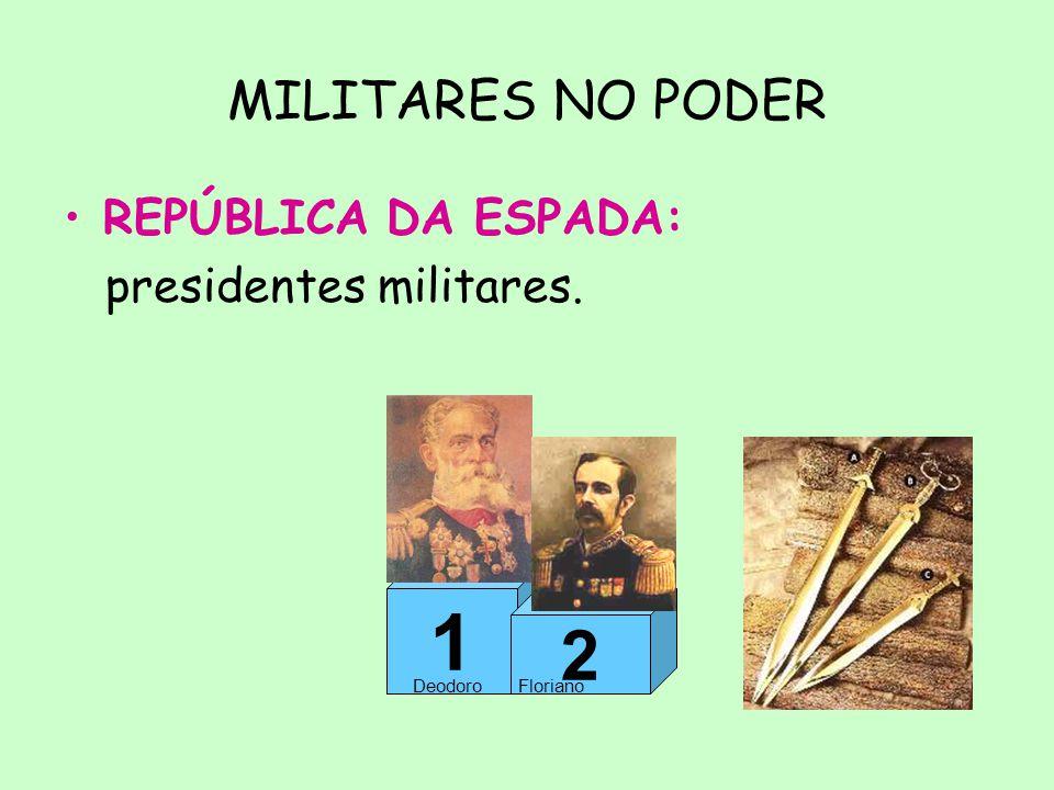 1 2 MILITARES NO PODER REPÚBLICA DA ESPADA: presidentes militares.