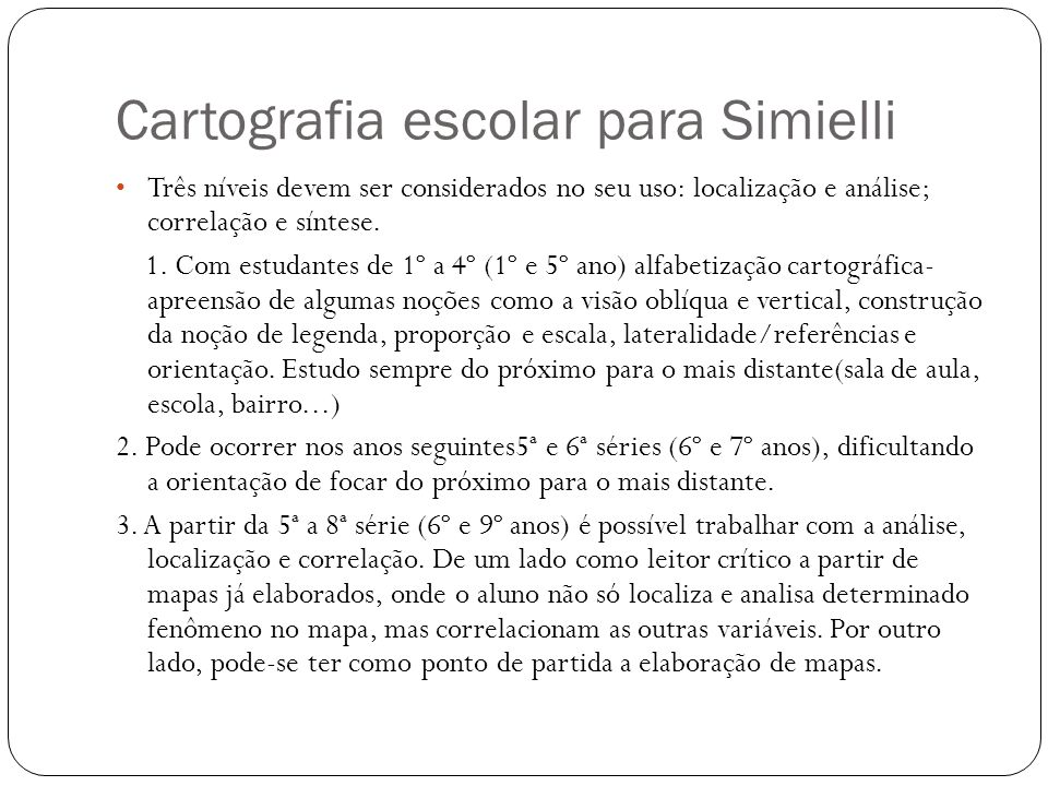 Cartografia escolar para Simielli