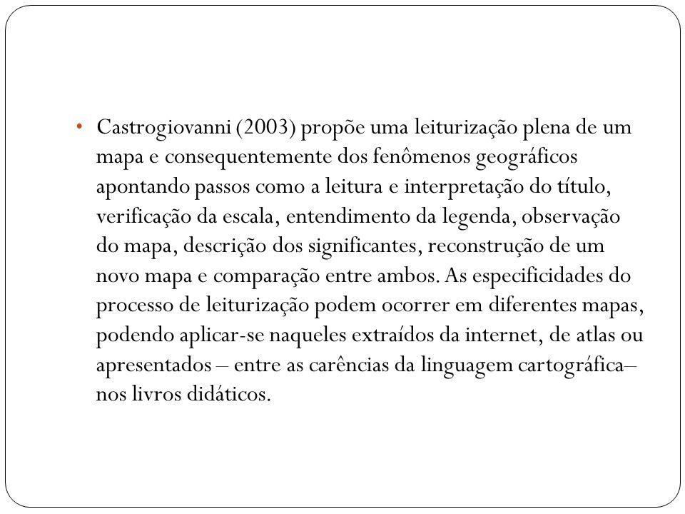Castrogiovanni (2003) propõe uma leiturização plena de um mapa e consequentemente dos fenômenos geográficos apontando passos como a leitura e interpretação do título, verificação da escala, entendimento da legenda, observação do mapa, descrição dos significantes, reconstrução de um novo mapa e comparação entre ambos.