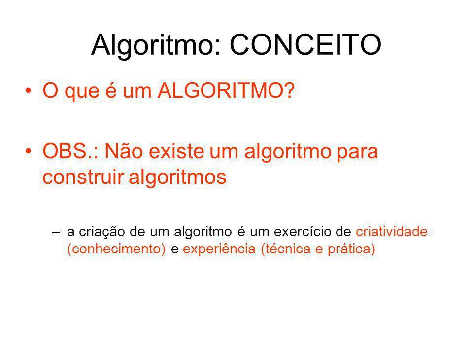 Algoritmo: CONCEITO O que é um ALGORITMO