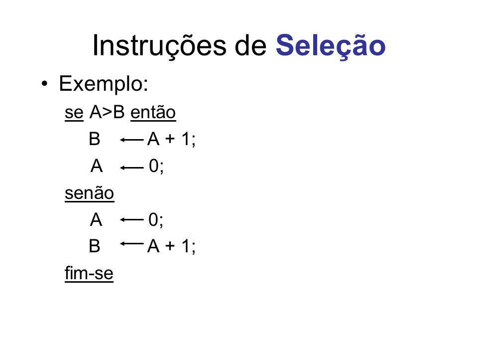 Instruções de Seleção Exemplo: se A>B então B A + 1; A 0; senão