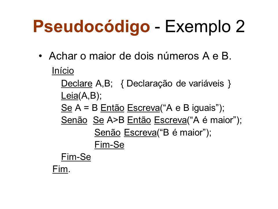 Pseudocódigo - Exemplo 2