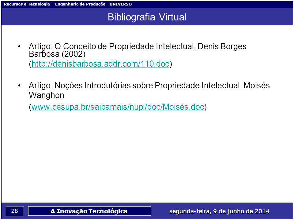 Bibliografia Virtual Artigo: O Conceito de Propriedade Intelectual. Denis Borges Barbosa (2002) (http://denisbarbosa.addr.com/110.doc)