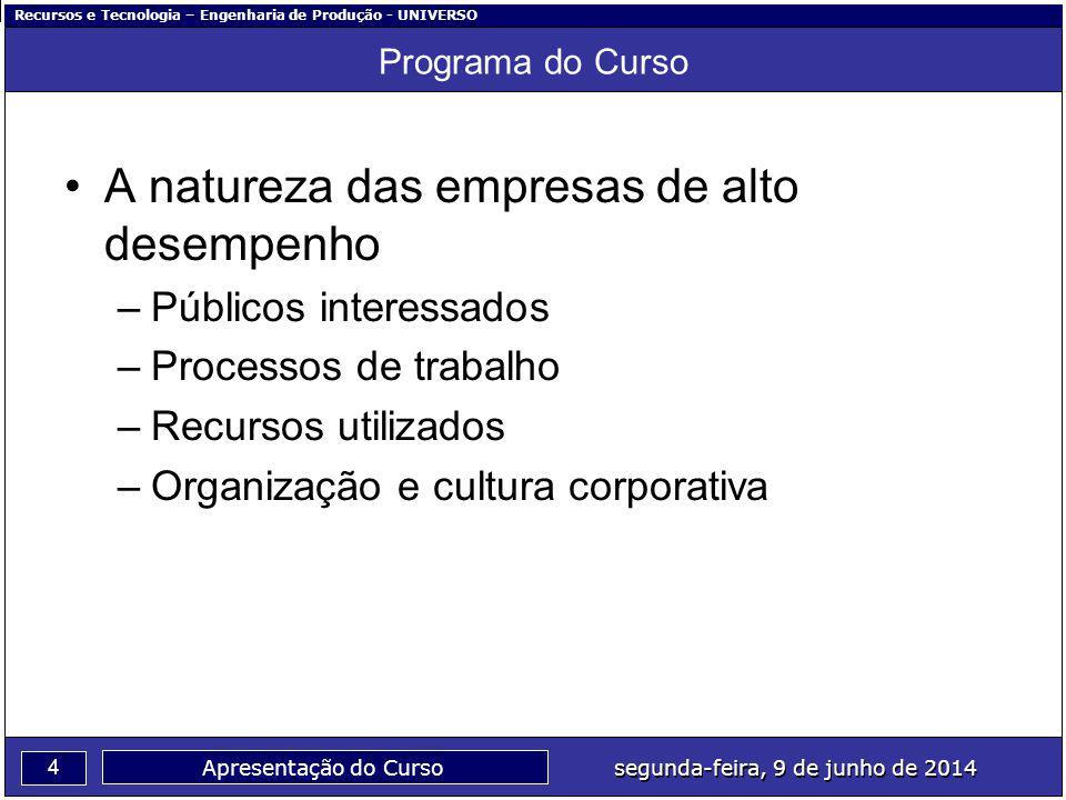 A natureza das empresas de alto desempenho