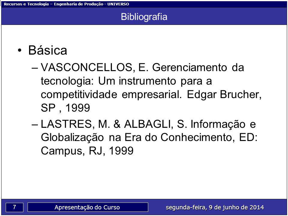 Bibliografia Básica. VASCONCELLOS, E. Gerenciamento da tecnologia: Um instrumento para a competitividade empresarial. Edgar Brucher, SP , 1999.