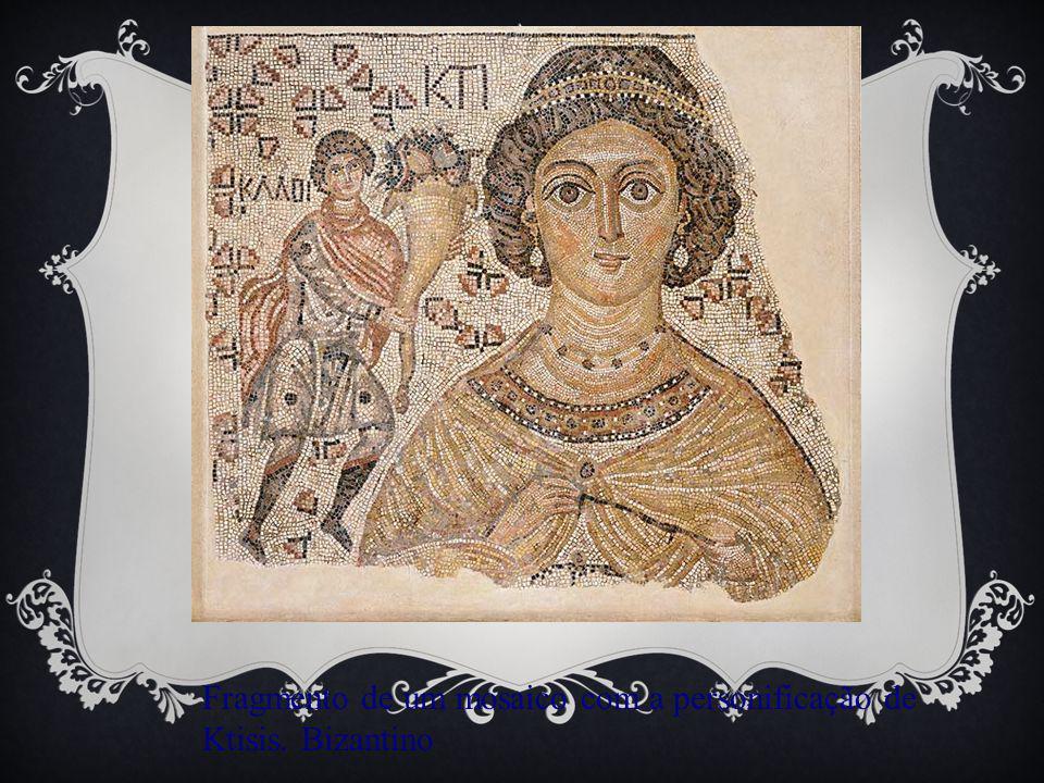 Fragmento de um mosaico com a personificação de Ktisis. Bizantino