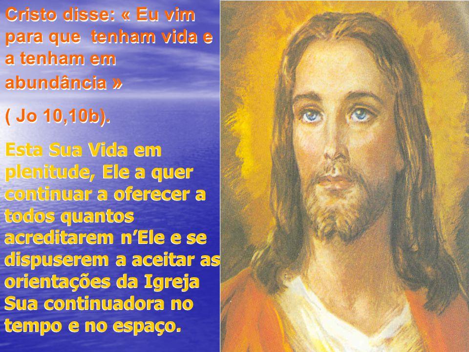 Cristo disse: « Eu vim para que tenham vida e a tenham em abundância »