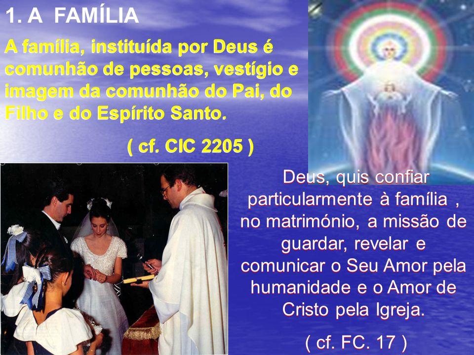 1. A FAMÍLIA A família, instituída por Deus é comunhão de pessoas, vestígio e imagem da comunhão do Pai, do Filho e do Espírito Santo.